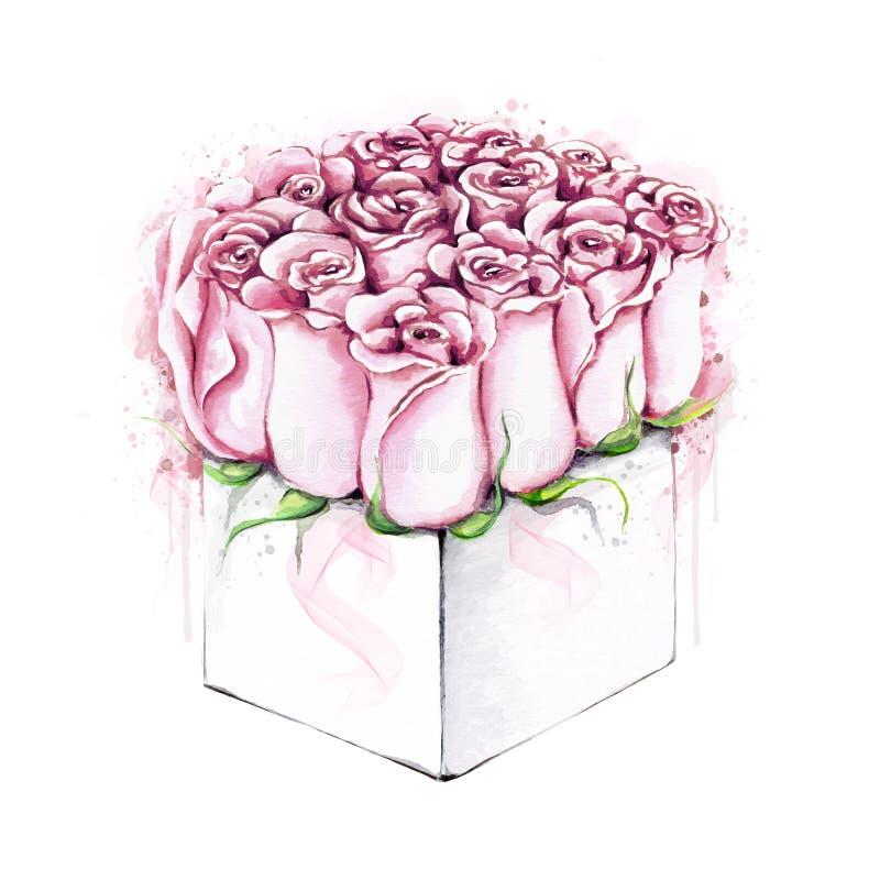 Rosas da aquarela no pacote ilustração royalty free