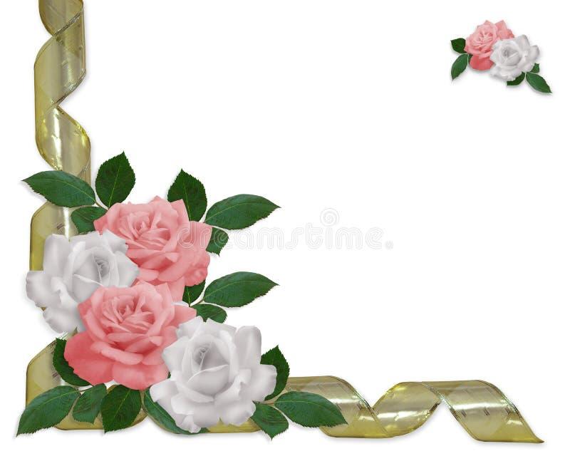 Rosas da cor-de-rosa da beira do convite do casamento ilustração do vetor