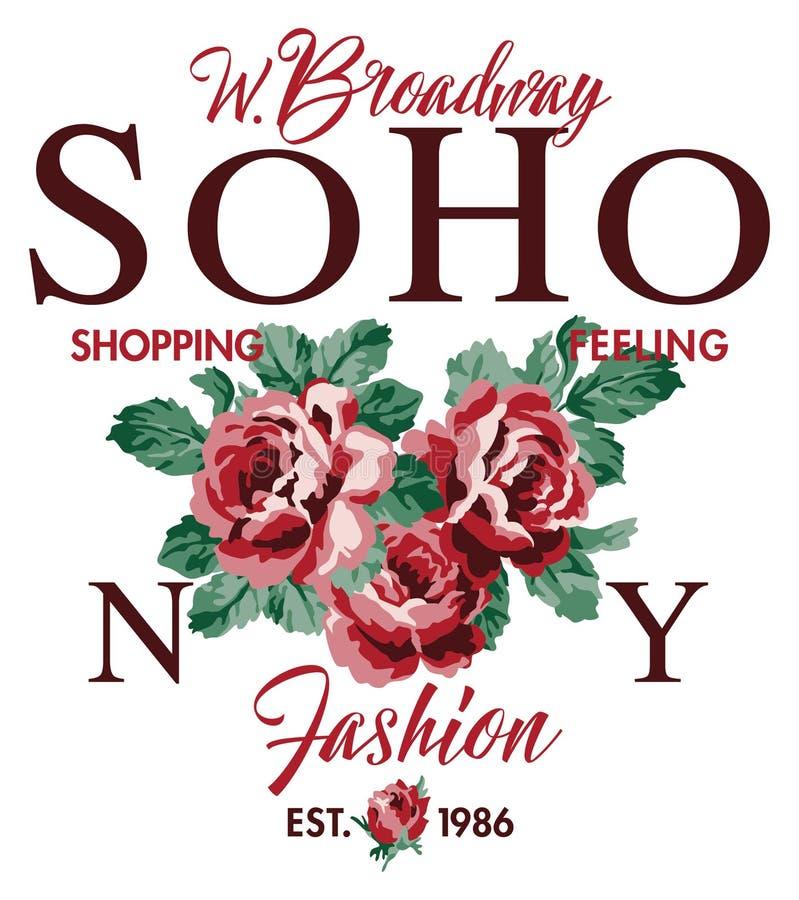 Rosas da forma do sentimento da compra de Soho New York ilustração stock