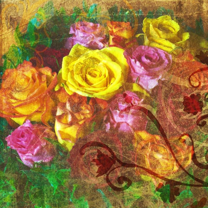Rosas de Grunge ilustración del vector