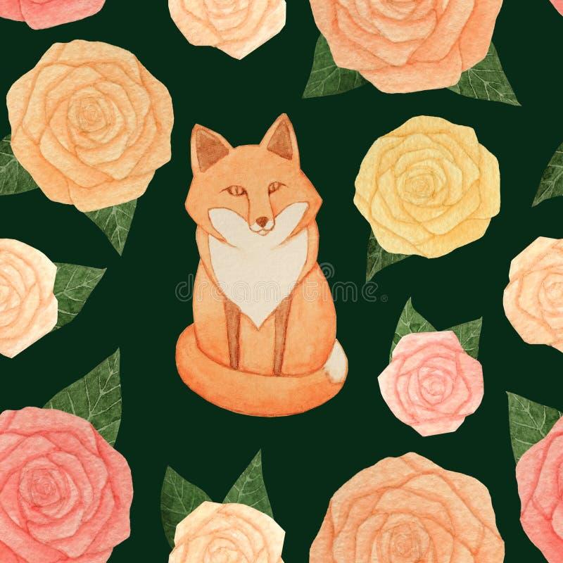 Rosas de la acuarela con las hojas y modelo inconsútil del zorro que se sienta en el fondo verde oscuro ilustración del vector