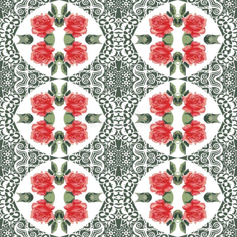 Rosas de la flor del verano inconsútil y modelo botánicos del cordón Elegancia lamentable del estilo, boho, Provence Colores rojo libre illustration
