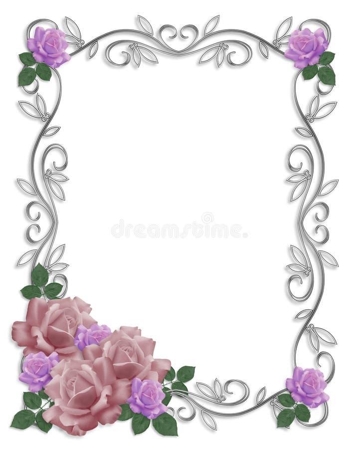 Rosas de la frontera de la invitación de la boda libre illustration