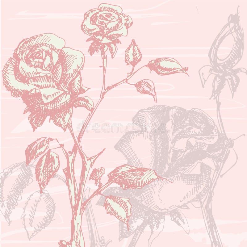 Rosas de la vendimia stock de ilustración