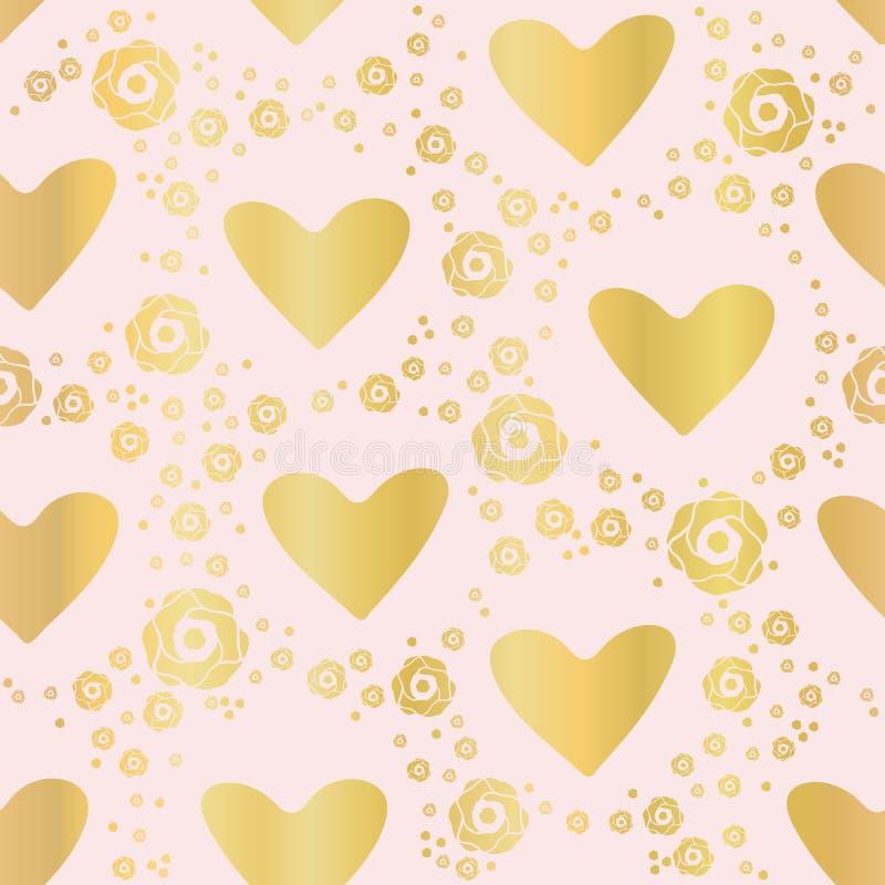 Rosas de lujo de Rose Gold Foil Love Hearts, modelo inconsútil stock de ilustración