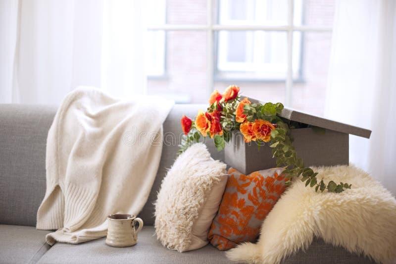 Rosas de té en una caja de regalo en el sofá con las almohadas, cerca de la ventana Cosiness casero Buenos días Espacio libre par foto de archivo