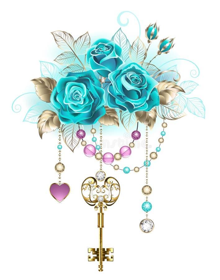 Rosas de turquesa com chaves ilustração royalty free