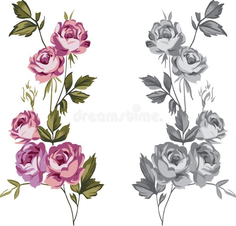 Rosas decorativas ilustração royalty free