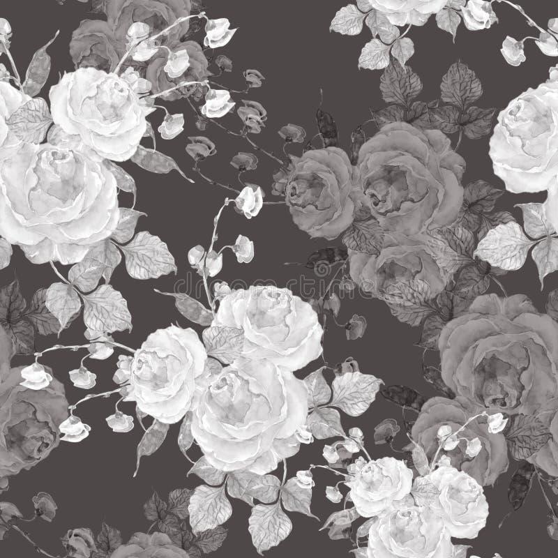Rosas decorativas de la acuarela en un fondo oscuro Modelo inconsútil para el gesign stock de ilustración
