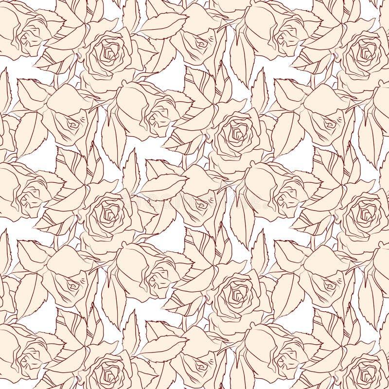 Rosas del beige del modelo ilustración del vector
