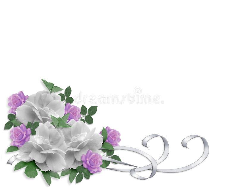 Rosas del blanco de la frontera de la invitación de la boda stock de ilustración