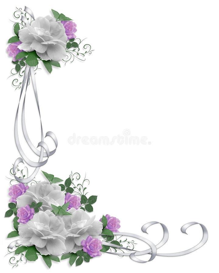 Rosas del blanco de la frontera de la invitación de la boda ilustración del vector