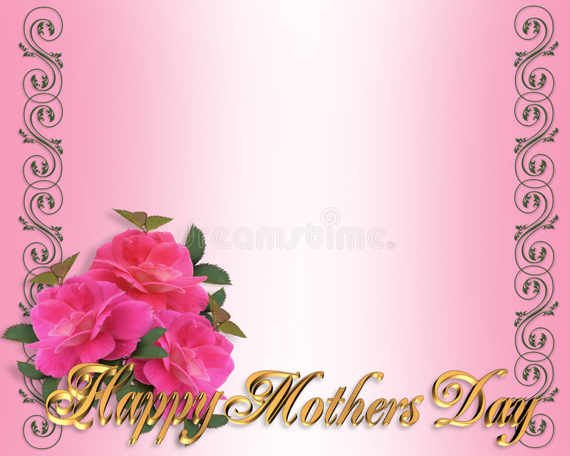 Rosas del color de rosa de la frontera del día de madres ilustración del vector