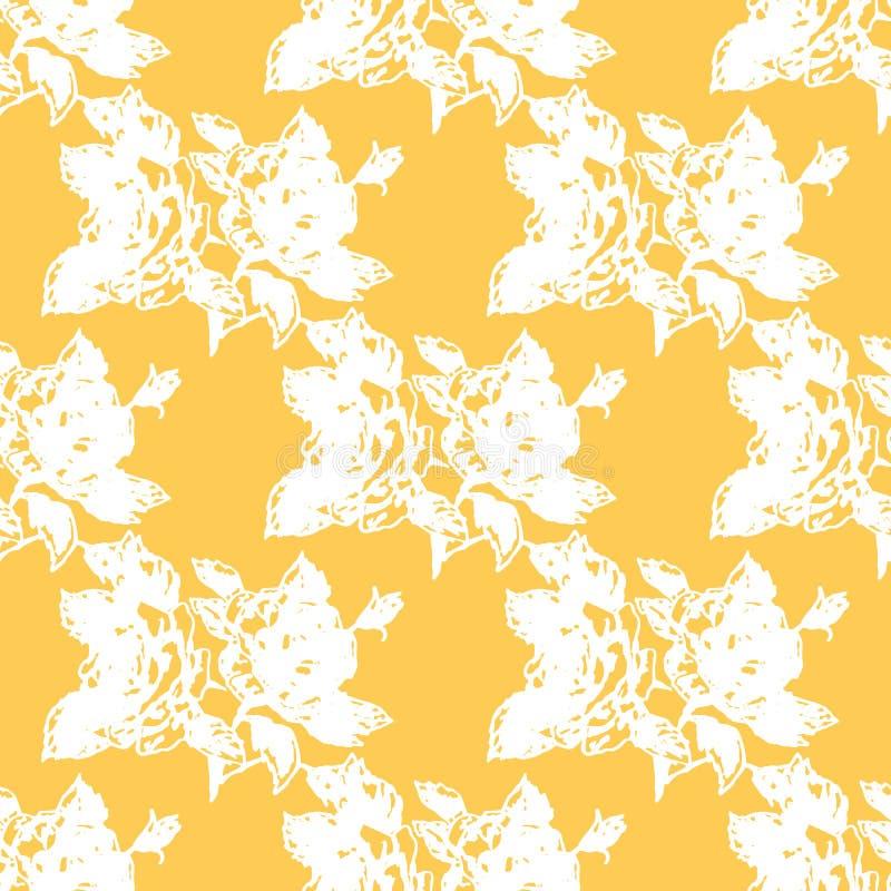 Rosas del ejemplo Flores en un fondo amarillo Modelo inconsútil libre illustration