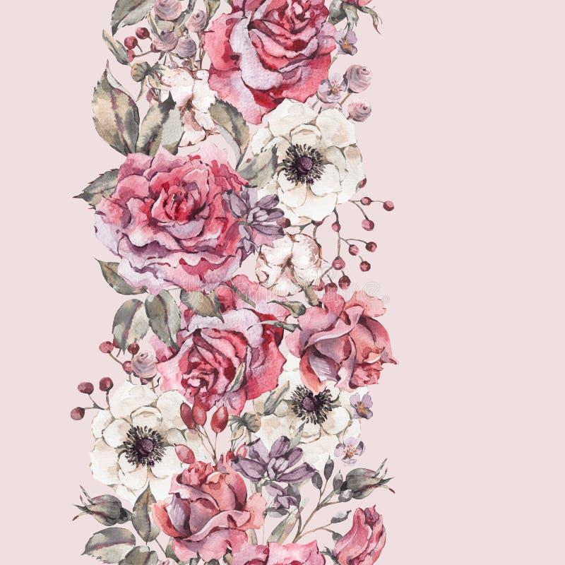 Rosas del rosa de la acuarela, frontera inconsútil de la naturaleza con las flores stock de ilustración