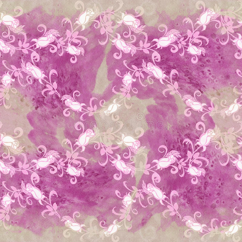 Rosas - desenho da aquarela Composição decorativa Teste padrão sem emenda Imagem de fundo abstrata Use materiais impressos, sinai ilustração do vetor