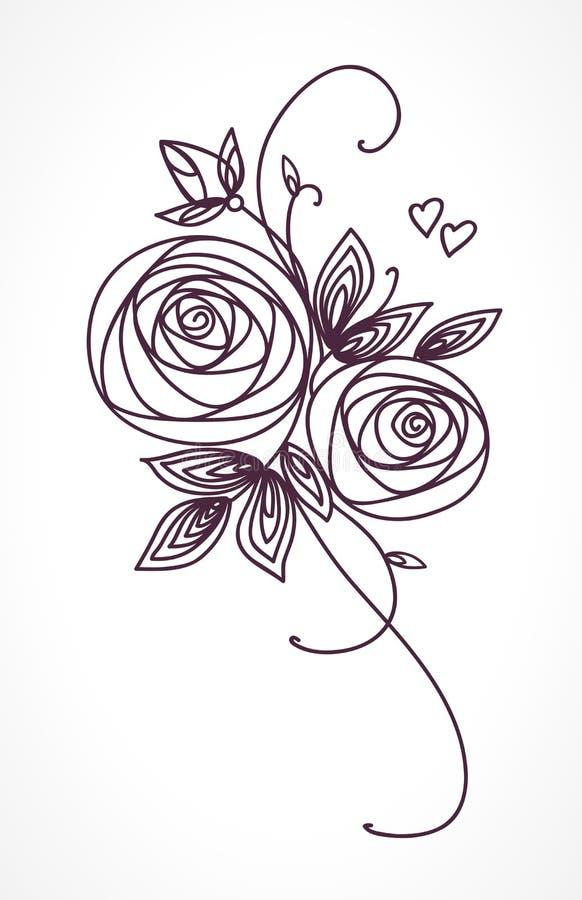 rosas Dibujo estilizado de la mano del ramo de la flor Símbolo del icono del esquema Presente para casarse, tarjeta de la invitac libre illustration