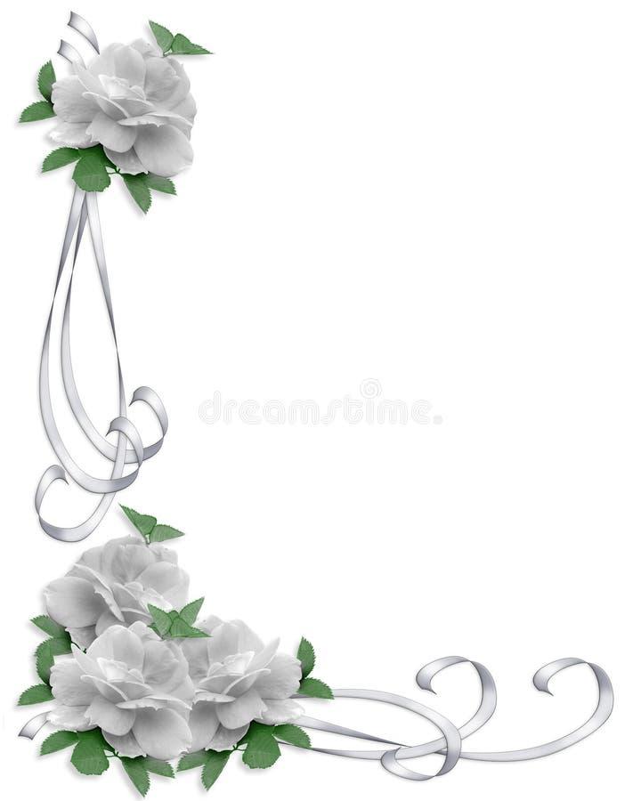 Rosas do branco da beira do convite do casamento ilustração do vetor