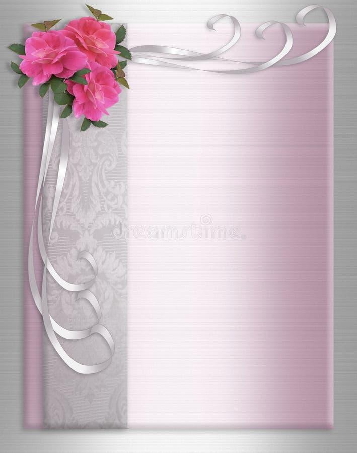Rosas do cetim da beira do convite do casamento ilustração royalty free