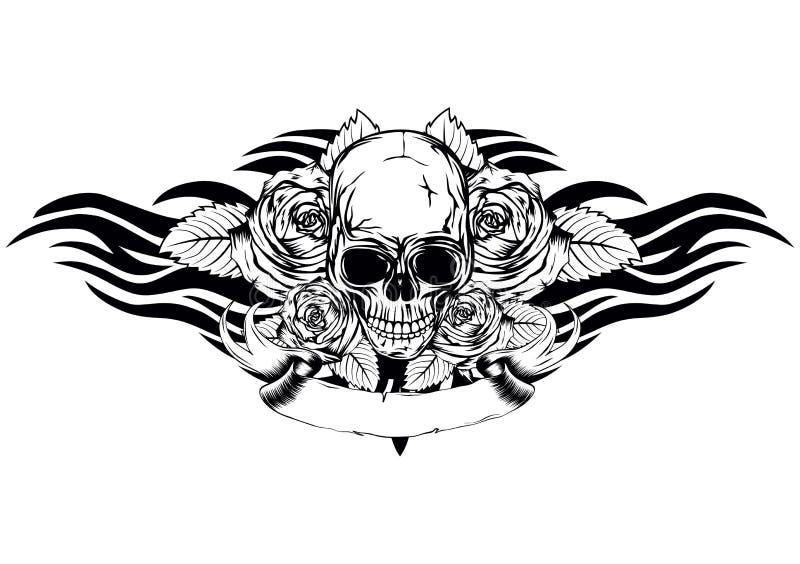 Rosas do crânio tribais ilustração stock