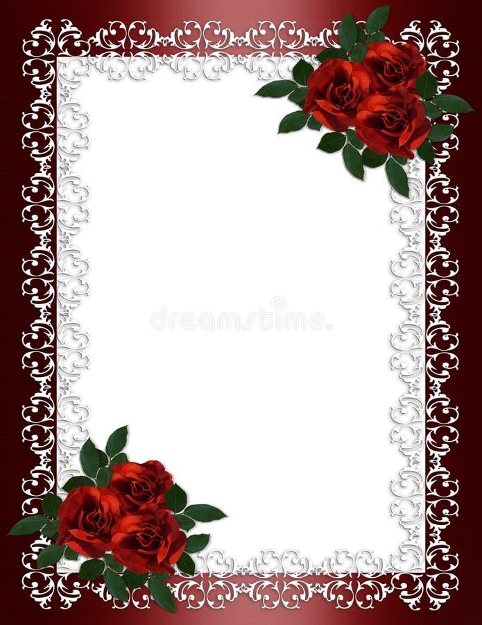 Rosas do vermelho da beira do convite do casamento ilustração stock