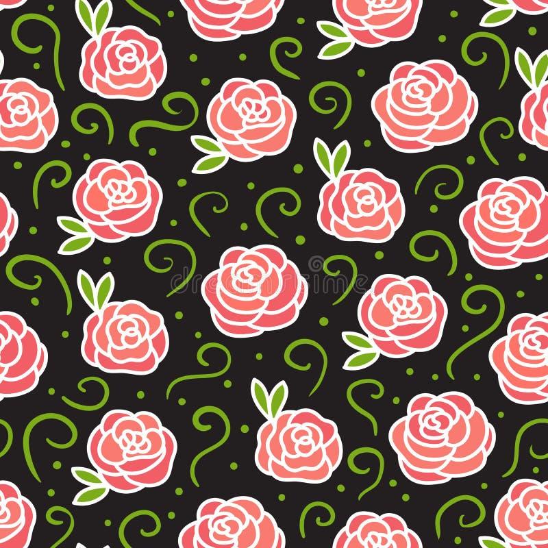 Rosas do vetor no teste padrão sem emenda escuro da textura Flores do desenho da mão com ondas verdes ilustração royalty free