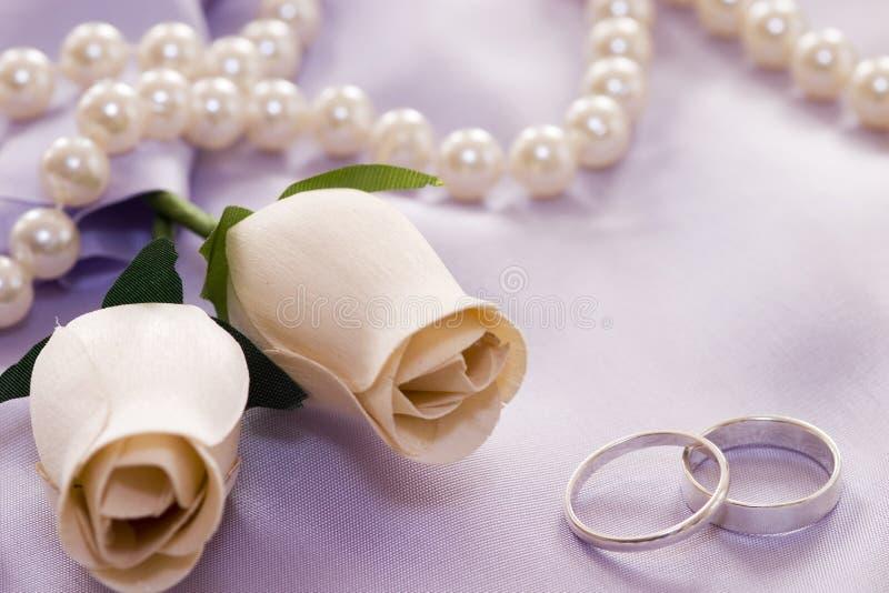 Rosas e anéis de casamento fotografia de stock royalty free