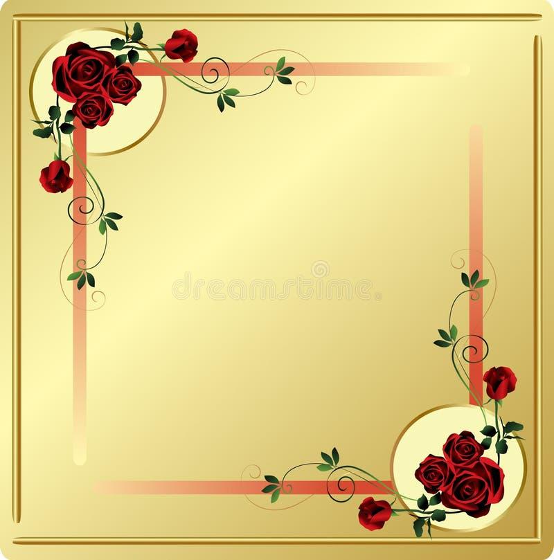 Rosas e cantos vermelhos dos redemoinhos com fundo do ouro fotografia de stock