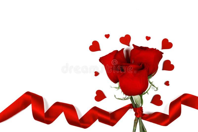 Rosas e corações no branco imagem de stock