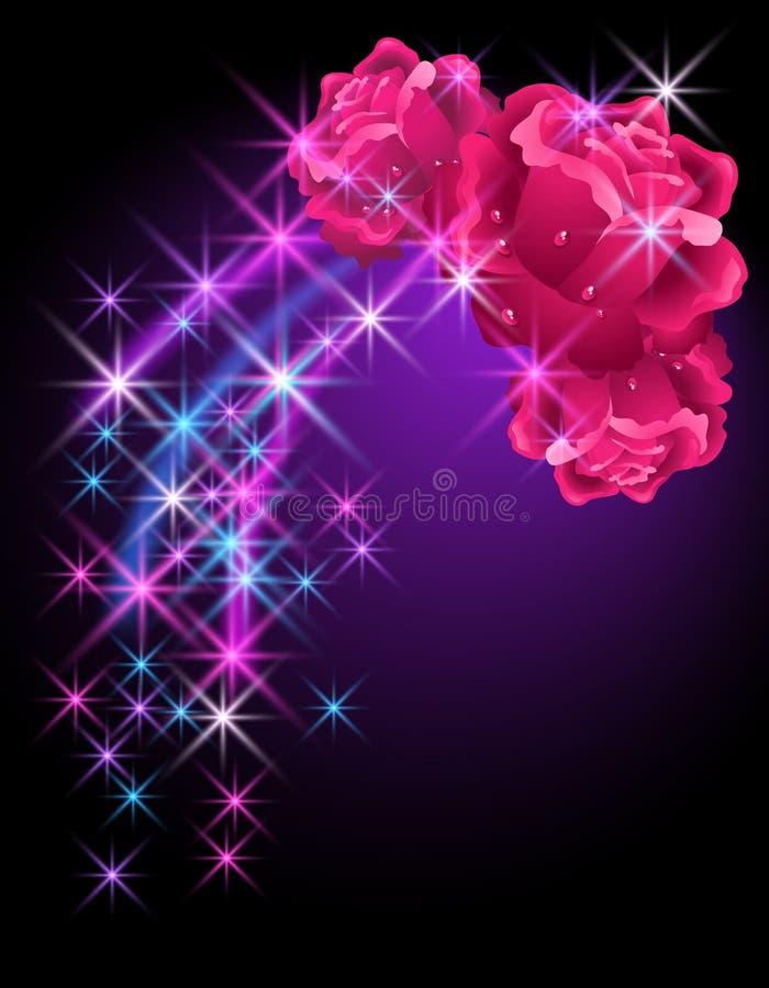 Rosas e estrelas ilustração stock