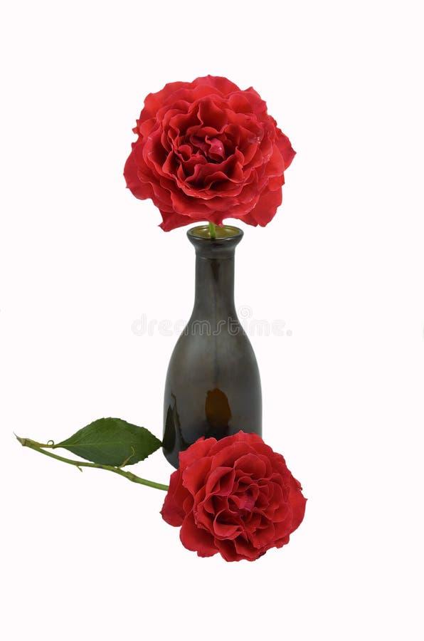 Rosas e frasco vermelhos imagem de stock royalty free