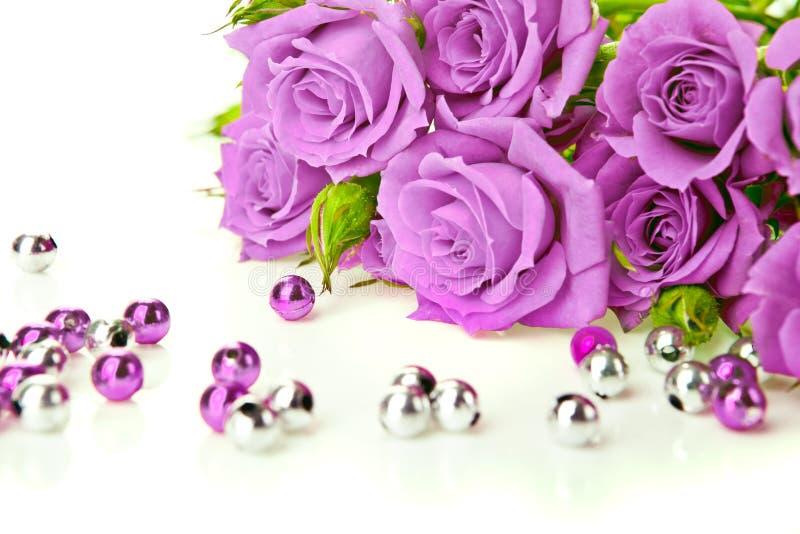 Rosas e grânulos roxos fotografia de stock royalty free