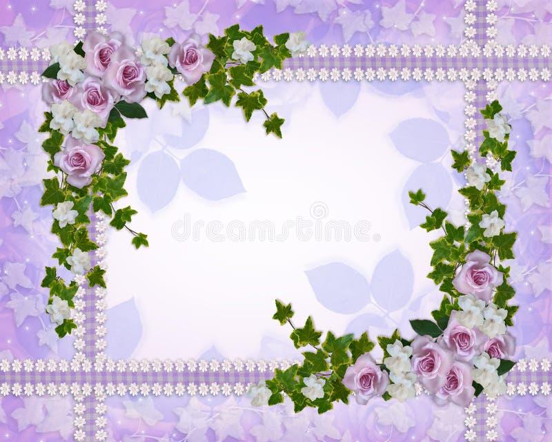 Rosas e molde floral da beira dos gardenias ilustração royalty free