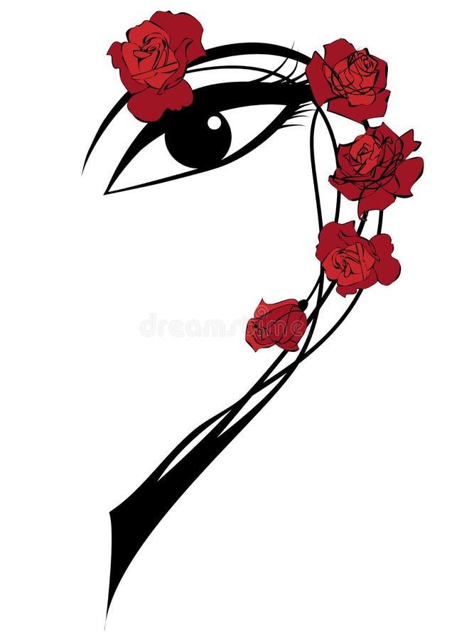Rosas e olho ilustração royalty free