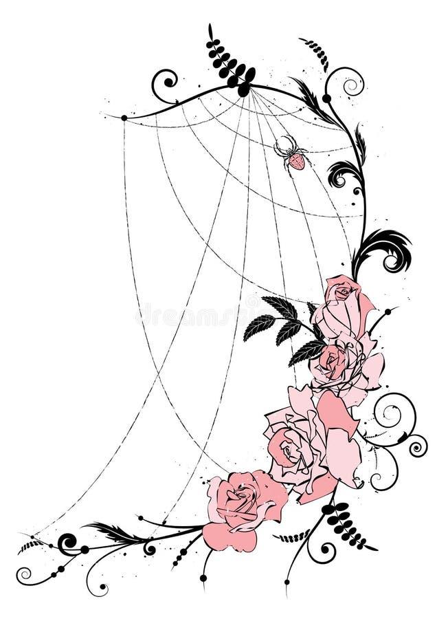 Rosas e spiderweb ilustração royalty free