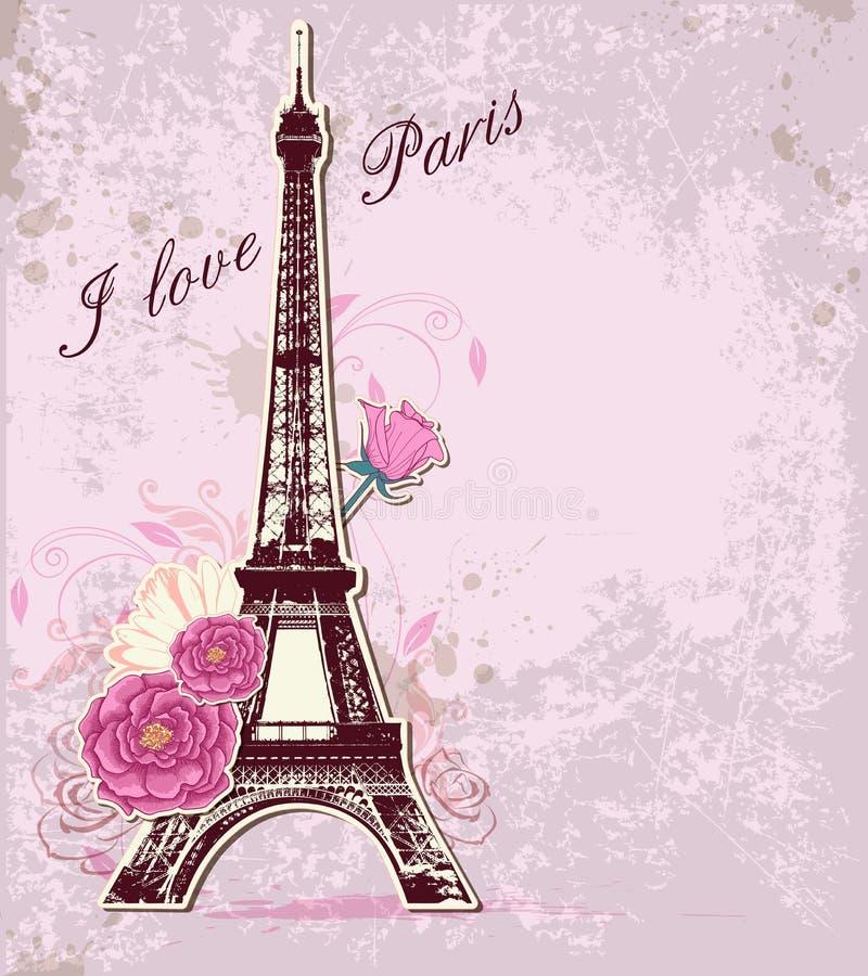 Rosas e torre Eiffel ilustração royalty free