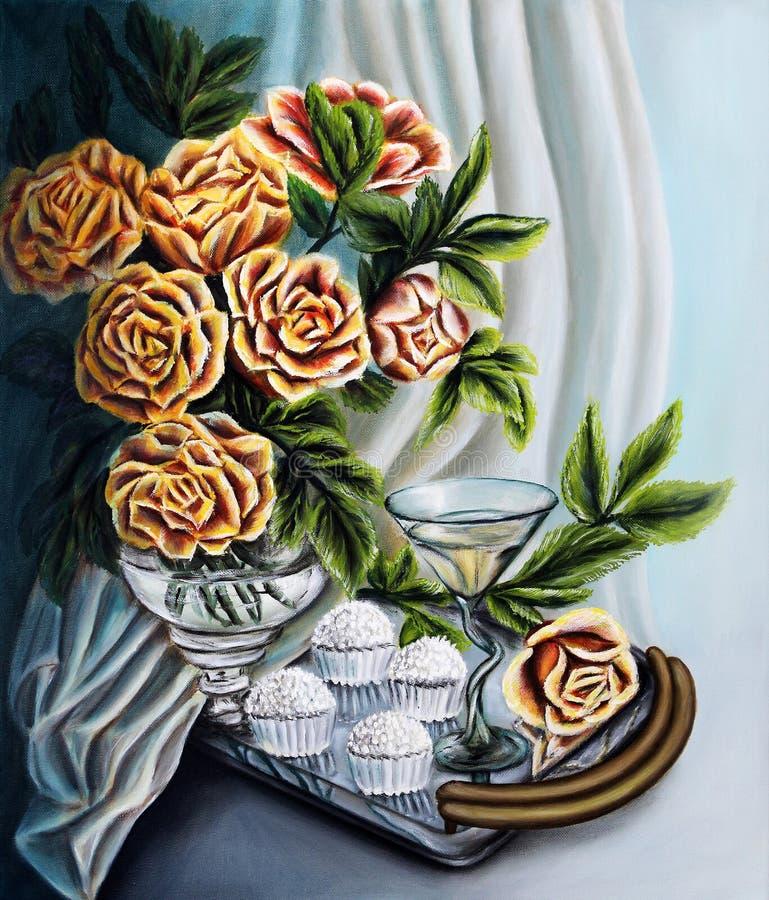 Rosas em um jarro de vidro com Rafaello sobre em uma bandeja Pintura: óleo na lona ilustração do vetor
