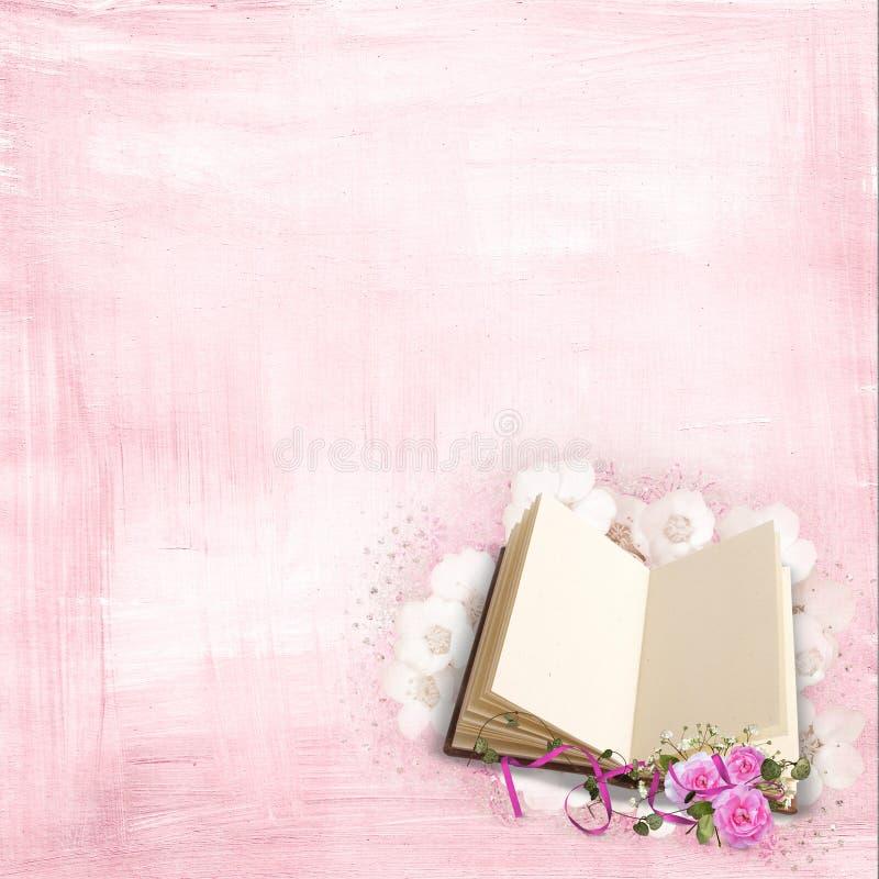 Rosas em um livro ilustração stock