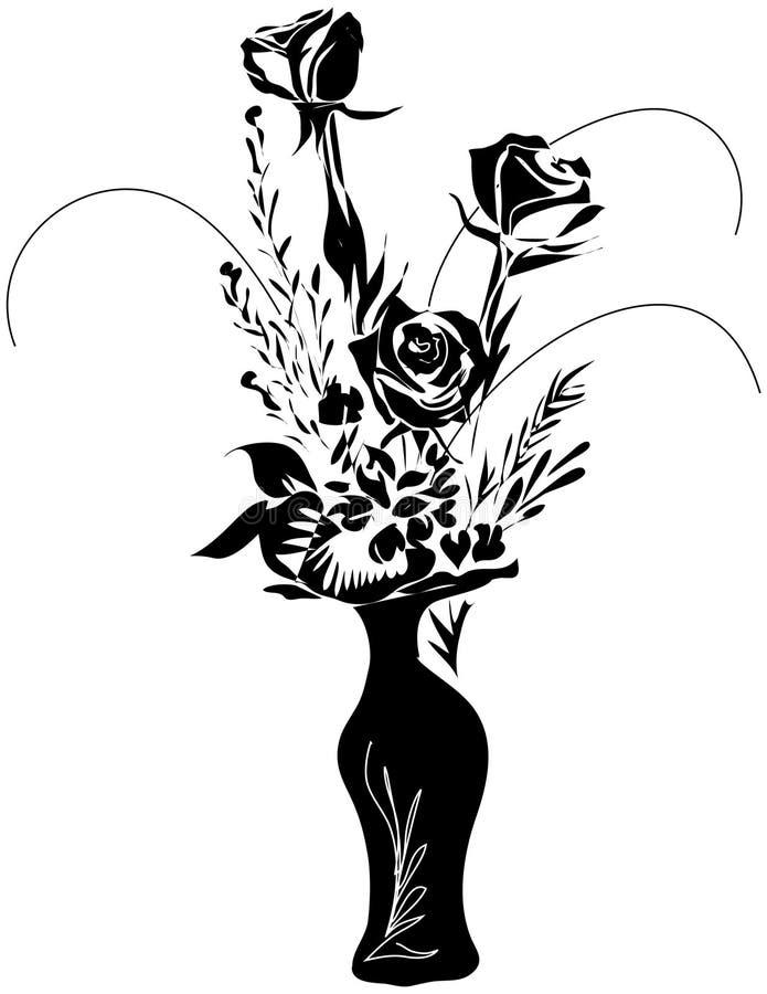 Rosas em um vaso ilustração do vetor