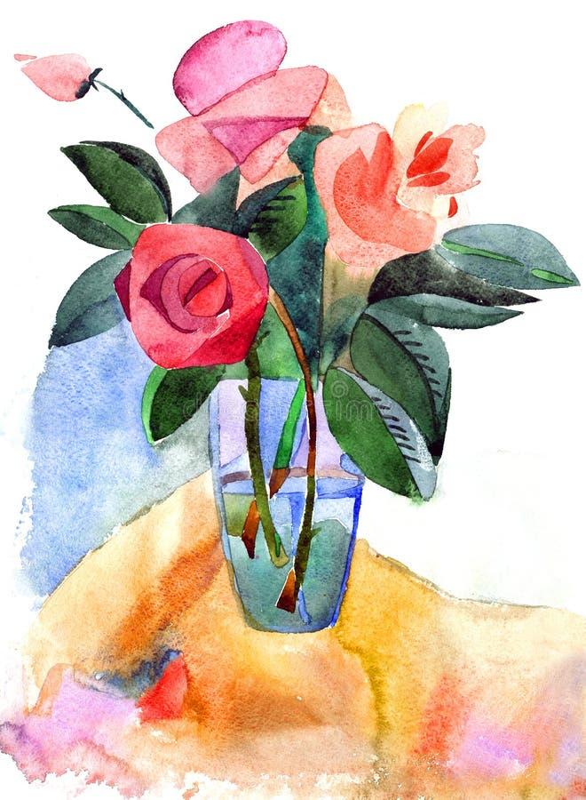 Rosas em um vaso ilustração royalty free