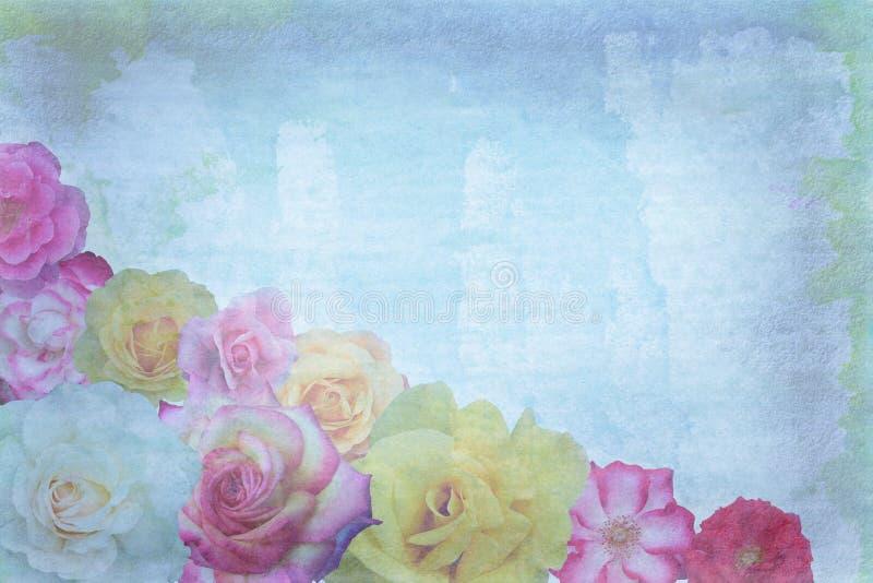 Rosas en fondo del grunge ilustración del vector