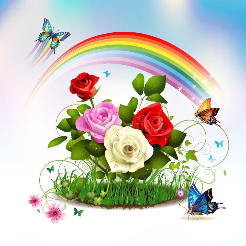 Rosas en hierba libre illustration
