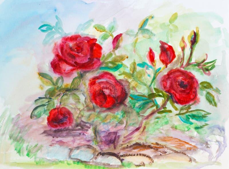 Rosas en jardín ilustración del vector