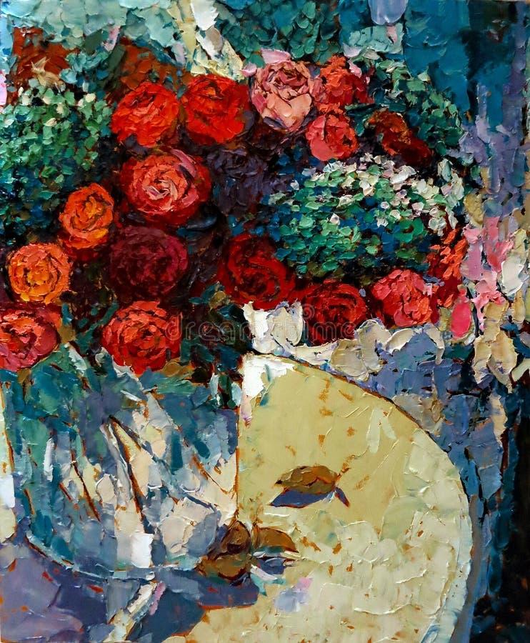 Rosas en la pintura al óleo de cristal de la textura del primer del florero foto de archivo libre de regalías