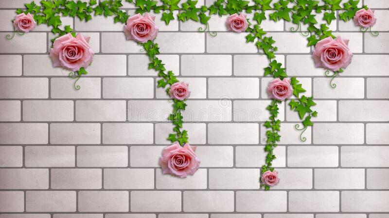 Rosas en una pared de ladrillo Papel pintado de la foto para el interior representación 3d stock de ilustración