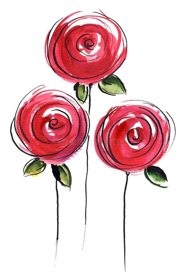 Rosas estilizados ilustração royalty free