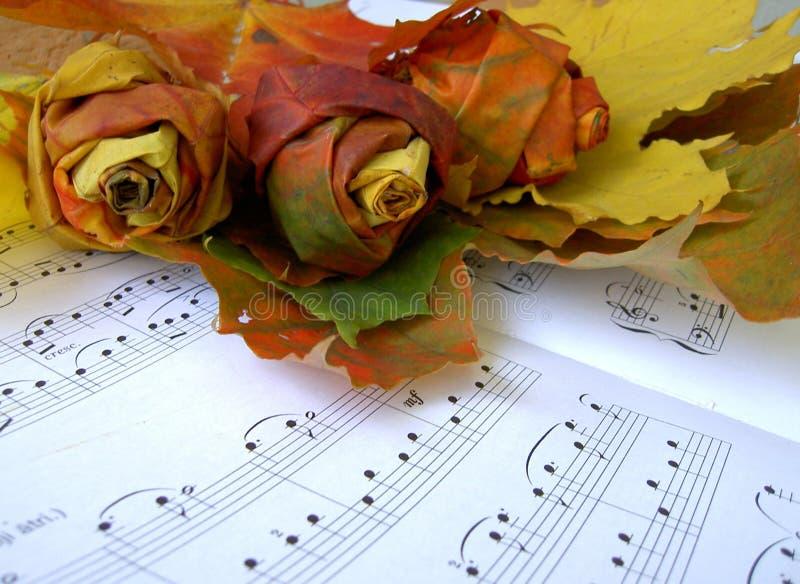 Rosas feitas das folhas de outono sobre a folha de música fotografia de stock