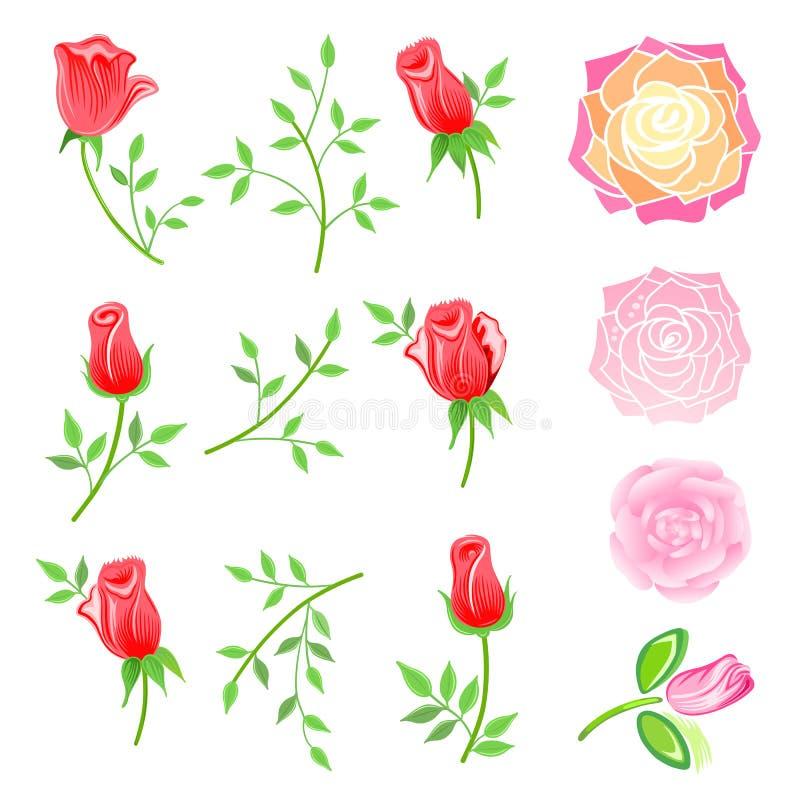 Rosas & galho com as folhas ajustadas ilustração stock