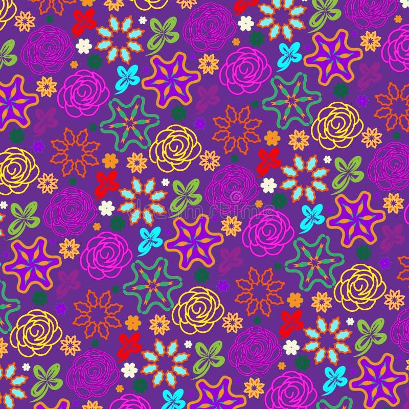 Rosas garabateadas coloridas violetas en un modelo inconsútil ilustración del vector