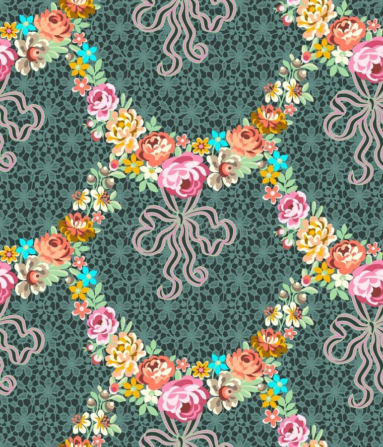 Rosas Garland Lace Seamless Pattern ilustração stock